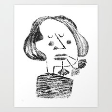 girl with a flower on her mouth Art Print