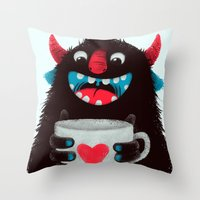 Demon With A Cup Of Coff… Throw Pillow