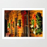 Log Cabin Christmas Art Print