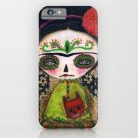 iPhone & iPod Case featuring Frida The Catrina And The Devil - Dia De Los Muertos Mixed Media Art by Danita Art