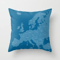 Europe map - blue Throw Pillow