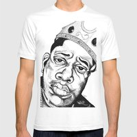 Biggie Smalls Stippling Mens Fitted Tee White SMALL