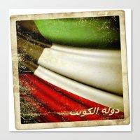 Grunge Sticker Of Kuwait… Canvas Print