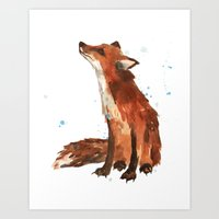 Fox art, fox lover gift, fox painting, fox illustration, wildlife art Art Print