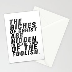 THE RICHES OF CHRIST ARE HIDDEN IN PLAIN OF THE FOOLISH (Matthew 6) Stationery Cards