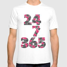 24-7/365 (Lipstick) SMALL White Mens Fitted Tee