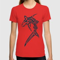 Sharked Womens Fitted Tee Red SMALL