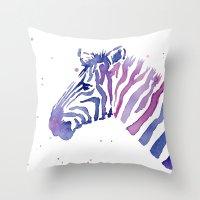 Zebra Watercolor Purple Stripes Throw Pillow