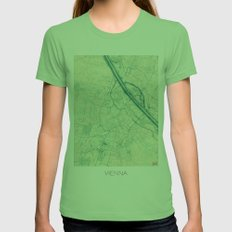 Vienna Map Blue Vintage Womens Fitted Tee Grass SMALL