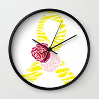 Endometriosis Awareness Ribbon Wall Clock