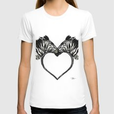 Zebra Love Womens Fitted Tee White SMALL