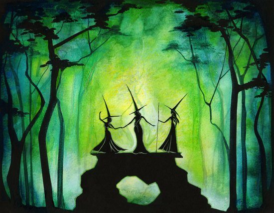 Emerald Forest Council - Halloween Witches Art Print