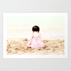 Baby at Beach Art Print