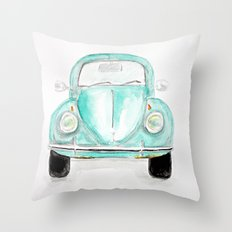 VW Beetle - Watercolor Throw Pillow
