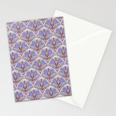 Art Deco Lotus Rising 2 - sage grey & purple pattern Stationery Cards