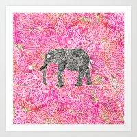 Pink Safari | Tribal Pai… Art Print