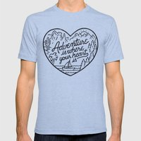 Adventure is where your heart is Mens Fitted Tee Tri-Blue SMALL