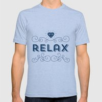 Relax grey Mens Fitted Tee Athletic Blue SMALL