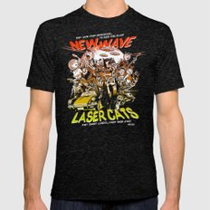 New Wave Laser Cats Mens Fitted Tee Tri-Black SMALL