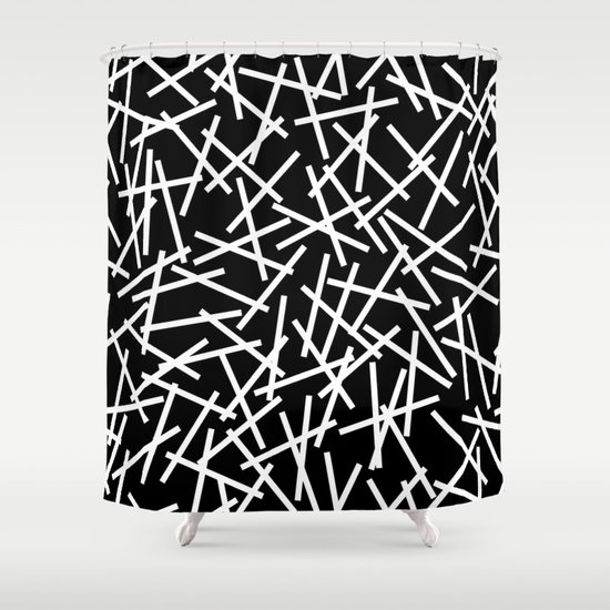 Kerplunk Black and White Shower Curtain