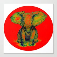 Elephant with Tiny Bird Canvas Print