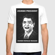 40. Zombie Ronald Reagan White SMALL Mens Fitted Tee