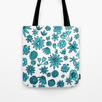 Blue Flowers On White Tote Bag