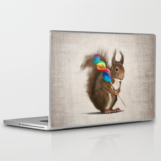 A funny squirrel with a lollipop on a rustic background. Laptop & iPad Skin