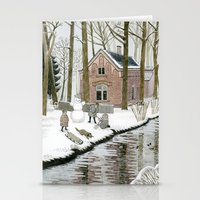 Children Building A Snow… Stationery Cards