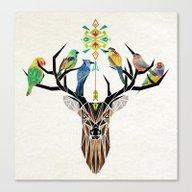 Deer Birds Canvas Print