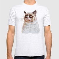 Grumpycat Mens Fitted Tee Ash Grey SMALL