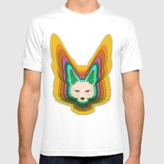 Fannec Fox White Mens Fitted Tee SMALL