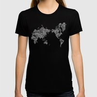 Passport Stamp Map Speci… Womens Fitted Tee Black SMALL