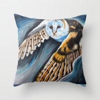 Night Owl In Flight Throw Pillow