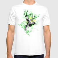 Trippy Ghost Deer Mens Fitted Tee White SMALL