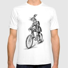 The Bicycle Bunny Mens Fitted Tee White SMALL