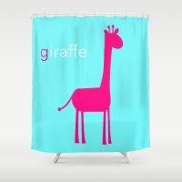 Pink Giraffe Shower Curtain