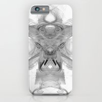 iPhone Cases featuring Theta Abstract Black and White Fractal Decor by Virtualkee