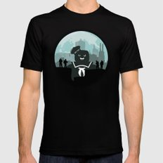 Ghostbusters versus the Stay Puft Marshmallow Man Mens Fitted Tee Black SMALL