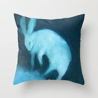 Ghost Bunny adrift Throw Pillow