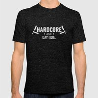 x HARDCORE x Mens Fitted Tee Tri-Black SMALL