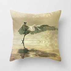 Spoonbill morning Throw Pillow