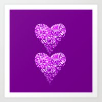 two sparkling hearts (in purple) Art Print