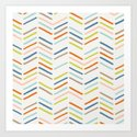 Mixed Herringbone - in Burnt Orange Art Print