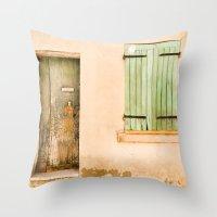 Green Wooden Door And Sh… Throw Pillow