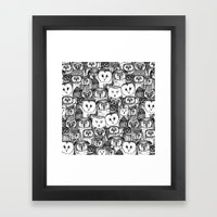 just owls black white Framed Art Print