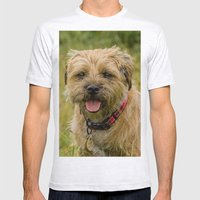 Border Terrier Dog Mens Fitted Tee Ash Grey SMALL