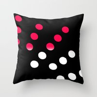Hot Pink And White Dots Throw Pillow