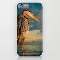 iPhone & iPod Case featuring Great Blue Heron and Blue Sunset by LudaNayvelt
