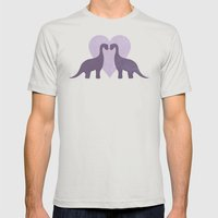 Prehistoric Love - Sans … Mens Fitted Tee Silver SMALL